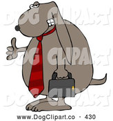 Clip Art of a Cool Dog Wearing a Red Business Tie and Carrying a Briefcase, Giving the Viewer a Thumbs up by Djart