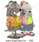Clip Art of a Cool Hippie Dog Couple Group Wearing Tie Dye Shirts and Sandals, One Dog Flashing the Peace Sign by Djart