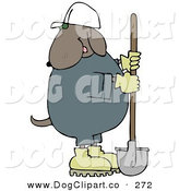 September 17th, 2012: Clip Art of a Cosntruction Worker Dog in a White Hardhat Using a Shovel to Dig by Djart
