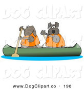 Clip Art of a Couple of Brown Dogs in Lifejackets Paddling a Canoe and Looking Back by Djart