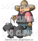 Clip Art of a Cowboy Walking His Pooch by Djart