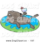 Clip Art of a Cute and Relaxing Brown Dog Drinking Red Wine and Soaking in an Inflatable Kiddie Pool by Djart