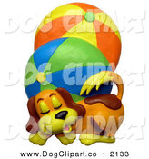 Clip Art of a Cute Brown Dog with Two Beach Balls by Amy Vangsgard