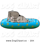Clip Art of a Cute Brown Happy Dog Soaking in a Kiddie Pool Decorated with Starfish by Djart