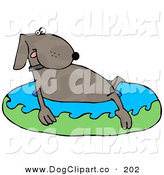 Clip Art of a Cute Dog Soaking in an Inflatable Kiddie Pool to Cool off on a Hot Summer Day by Djart