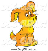 Clip Art of a Cute Puppy Sitting and Facing to the Right by Alex Bannykh