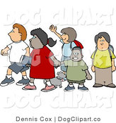 Clip Art of a Diverse Group of School Children and a Little Dog Crossing a Street by Djart