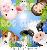 Clip Art of a Dog Bunny Pig Mouse Monkey and Cow Looking Downwards by Oligo