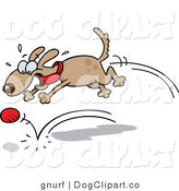 Clip Art of a Dog Chasing a Red Ball and Playing Fetch by Gnurf