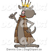 Clip Art of a Dog King Wearing Leopard Print Robe and Spike Collar by Djart