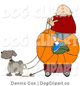 Clip Art of a Dog Pulling a Kid on a Big Pumpkin Wagon by Djart