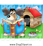 Clip Art of a Dog Reading a Book by a Dog House by Visekart