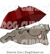 Clip Art of a Dog Resting Under a Beach Umbrella by Djart