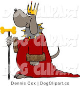 Clip Art of a Dog Wearing King Crown and Cloak by Djart