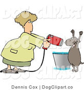 Clip Art of a Dog with His Arms up Being Dried by a Female Dog Groomer by Djart