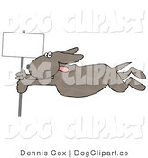 Clip Art of a Dog with His Tongue out Holding onto a Blank Sign Pole While Being Blown Around in a Severe Tropical Wind Storm - Concept by Djart