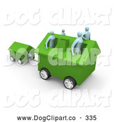 Clip Art of a Family of 4 Inside Their Green Home on Wheels, Moving to a New Location, Pulling the Dog House Behind by 3poD