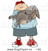 Clip Art of a Fat Caucasian Boy Holding His Happy Dog in His Arms on White by Djart