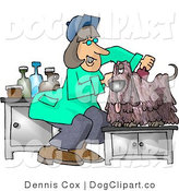Clip Art of a Female Dog Groomer Crouching and Cutting and Combing a Small Dog's Hair by Djart
