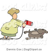 Clip Art of a Female Groomer Blow Drying a Dog with a Powerful Hair Dryer by Djart