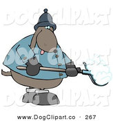 Clip Art of a Freezing Cold Brown Dog Shoveling Snow by Djart