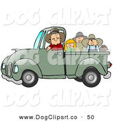 Clip Art of a Friendly Caucasian Farmer Man Driving with the Pickup Bed Full of Children by Djart