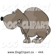 Clip Art of a Frightened Brown Dog Quivering and Cowering with His Tail Tucked Between His Legs by Djart