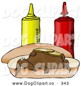 Clip Art of a Funny Clueless Wiener Dog Topped with Pickle Slices, Lying on His Back on a Hot Dog Bun Beside Ketchup and Mustard Bottles by Djart