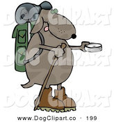 Clip Art of a Goofy Dog Using a Compass While Hiking by Djart