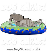 Clip Art of a Goofy Hot Dog Soaking in a Kiddie Pool Decorated with Starfish and Goldfish by Djart