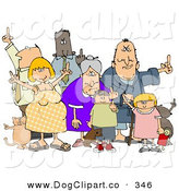 Clip Art of a Group of Angry People of All Ages and Mixed Ethnicities, Standing with a Dog and a Cat and Flipping People Off, on a White Background by Djart