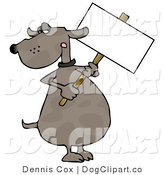 Clip Art of a Grumpy Dog Holding a Sign by Djart