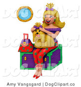 Clip Art of a Happy Blond Woman Holding Her Matching Shih Tzu by Amy Vangsgard
