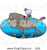 Clip Art of a Happy Brown Dog Drinking Wine and Soaking in an Inflatable Kiddie Pool by Djart