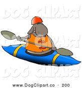 Clip Art of a Happy Brown Dog Kayaking on White by Djart