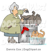 Clip Art of a Happy Dog Being Groomed and Bathing Cat by Djart