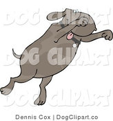 Clip Art of a Happy Dog Jumping by Djart