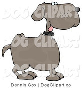 Clip Art of a Happy Dog Panting with Tongue out by Djart