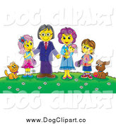 Clip Art of a Happy Family and Their Pets on a Hill with Flowers by Alex Bannykh
