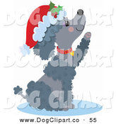 Clip Art of a Happy Gray Poodle Puppy Dog Wearing a Santa Hat and Red Collar by Maria Bell