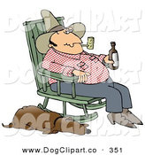 Clip Art of a Hillbilly Smoking a Tobacco Pipe, Drinking Beer and Sitting in a Rocking Chair with His Loyal Sleeping Old Hound Dog at His Side by Djart
