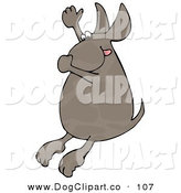 Clip Art of a Hot Brown Dog Plugging His Nose, Hanging His Tongue out and Throwing His Arm up in the Air While Diving into Water on White by Djart