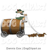 Clip Art of a Humorous German Man Guiding a Team of Weiner Dogs Pulling an Oversized Wooden Beer Keg Wagon - Oktoberfest by Djart