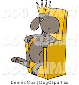 Clip Art of a King Dog Sitting on a Throne by Djart