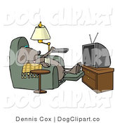 Clip Art of a Lazy Dog Watching Reality TV by Djart