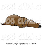 Clip Art of a Lazy Old Brown Hound Dog Lying on His Belly and Resting, Keeping One Eye Open by Djart