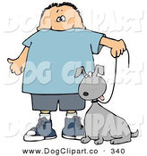 Clip Art of a Little Caucasian Boy Walking His Goofy Grey Mutt Dog on a Leash by Djart