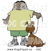 Clip Art of a Little Hispanic or African American Boy Walking His Goofy Brown Dog on a Leash by Djart