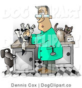 Clip Art of a Male Veterinarian Handling a Dead Dog on a Table, Trying to Figure out Cause of Death by Djart