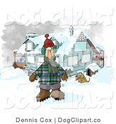 Clip Art of a Man Dressed in Winter Clothes, Standing by a House with a Dog and Hot Chocolate Stand by Djart